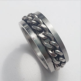Stainless Steel Chain Spinner Ring - New Earth Gifts