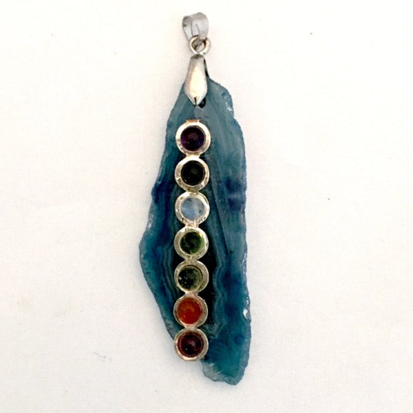 Chakra Gemstones on Flat Agate Pendant - New Earth Pendant