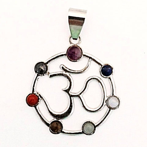Om Circle Pendant with 7 Chakra Stones - New Earth Gifts