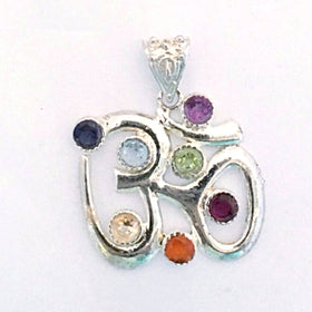 Om Pendant with 7 Chakra Stones - New Earth Gifts