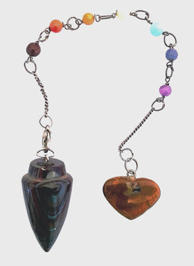 Chakra Pendulum of Chakra Colored Beads and Tiger Iron | New Earth Gifts