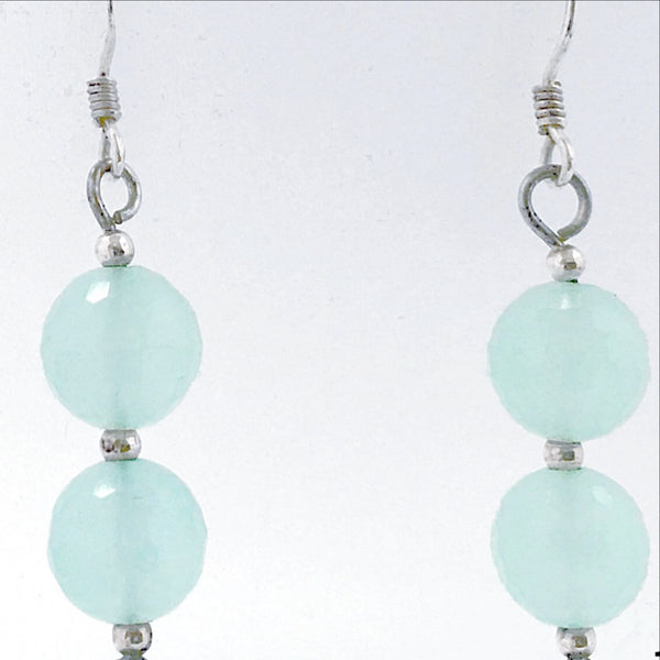 Chalcedony Sterling Earrings Faceted Beads -New Earth Gifts