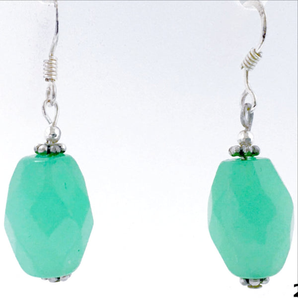 Chalcedony Sterling Silver Faceted Beaded Earrings -New Earth Gifts