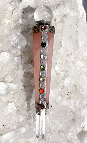 Rose Quartz Wand with Chakra Stones, Quartz Sphere and Point - New Earth Gifts and Beads