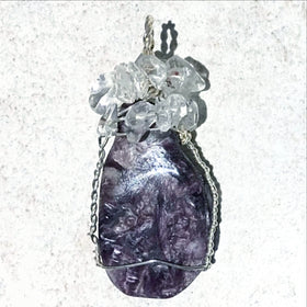 Charoite Wire Wrap Pendant with Quartz Chips - New Earth Gifts