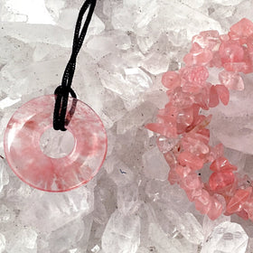 Cherry Quartz Pendant and Triple Strand Bracelet Set | New Earth Gifts