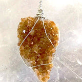Citrine Druzy XL Natural Heart Pendant - New Earth Gifts