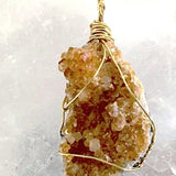 Citrine Druzy XL Golden Wire Pendant - New Earth Gifts