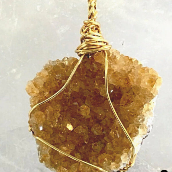 Citrine Druzy Golden Wire Pendant - New Earth Gifts