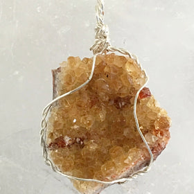 Citrine Druzy Pentagon Pendant - New Earth Gifts