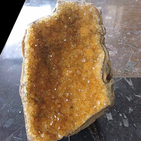 Citrine Druse Cut Base Rare Crystal Specimen - New Earth Gifts