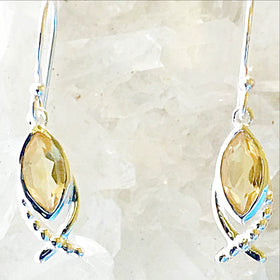 Citrine Sterling Silver Earrings Star Cross Design -New Earth Gifts