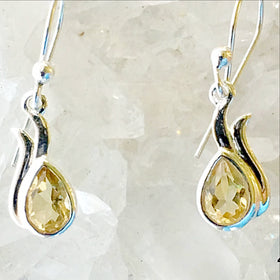 Citrine Sterling Silver Earrings Dew Drop Design - New Earth Gifts
