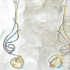 Blue Topaz Faceted Earring Angel Design - New Earth Gifts