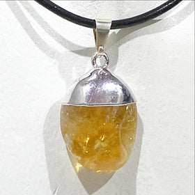 Polished Citrine Drop Pendant - New Earth Gifts