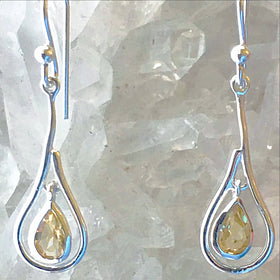 Citrine Sterling Silver Dangle Earrings - New Earth Gifts