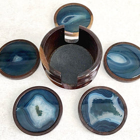 Blue Agate Coaster Set-6 Piece Set | New Earth Gifts
