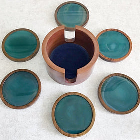 Agate Coaster 7 Piece Teal Set | New Earth Gifts