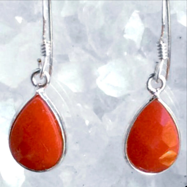 Red Coral Sterling Silver Faceted Teardrops Earrings - New Earth Gifts