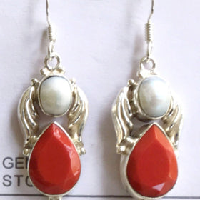 Red Teardrop Earrings with Pearls and Sterling Silver Angel Wings