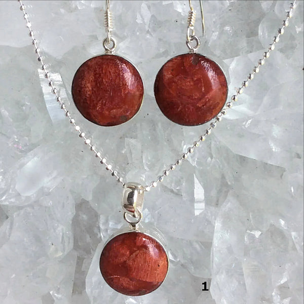 Red Sponge Coral Sterling Pendant and Earrings Set - New Earth Gifts