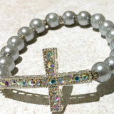 Gray Cross Beaded Bracelet - New Earth Gifts
