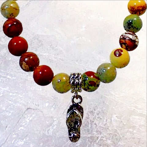 Desert Jasper Bracelet with Flip Flop Charm - New Earth Gifts