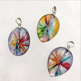 Dichroic Flower Pendant Sterling Bail - New Earth Gifts