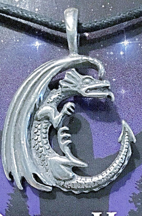 Celestial Pewter Pendant-Dragon Moon | New Earth Gifts