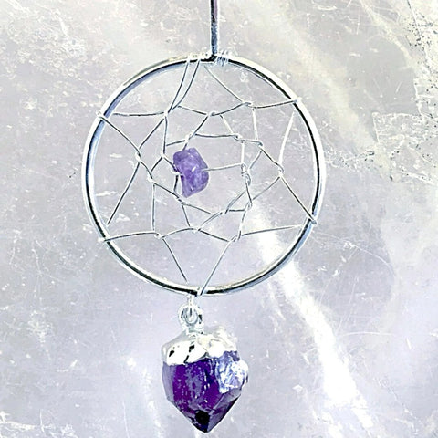 Dream Catcher Amethyst Pendants with Amethyst Point Feather - New Earth Gifts