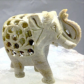 Elephant Figurine - Double Carved Soapstone | New Earth Gifts