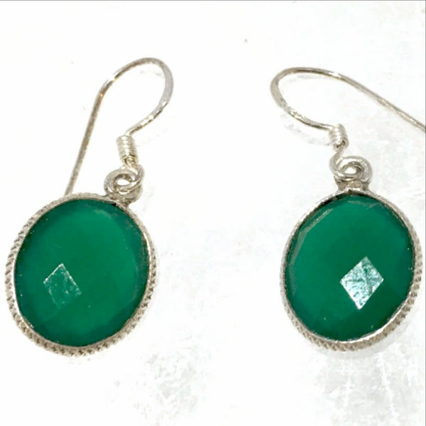 Emerald Sterling Silver Earrings- New Earth Gifts