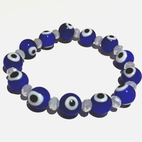 Evil Eye Bracelet Blue with White Faceted Spacers - New Earth Gifts
