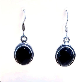 Sterling Black Onyx Faceted Oval Dangle Earrings -New Earth Gifts
