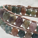 Double Wrap Leather Bracelet with Fancy Jasper beads-New Earth Gifts
