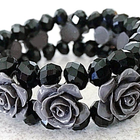 Rose Carved Beaded Bracelet - New Earth Gifts