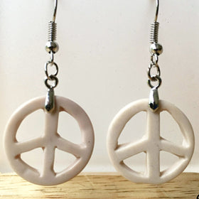 Peace Sign Fossil Stone Dangle Earrings - New Earth Gifts