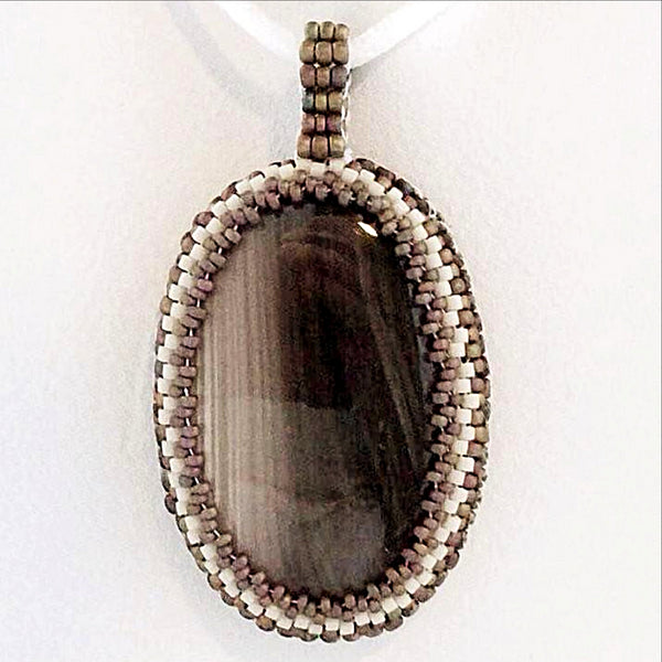 otswana Agate Oval Gemstone Pendant with Beaded Bezel - New Earth Gifts