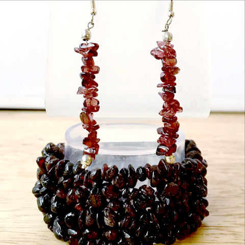 Garnet Multi Strand Cuff Bracelet with Matching Earrings - New Earth Gifts