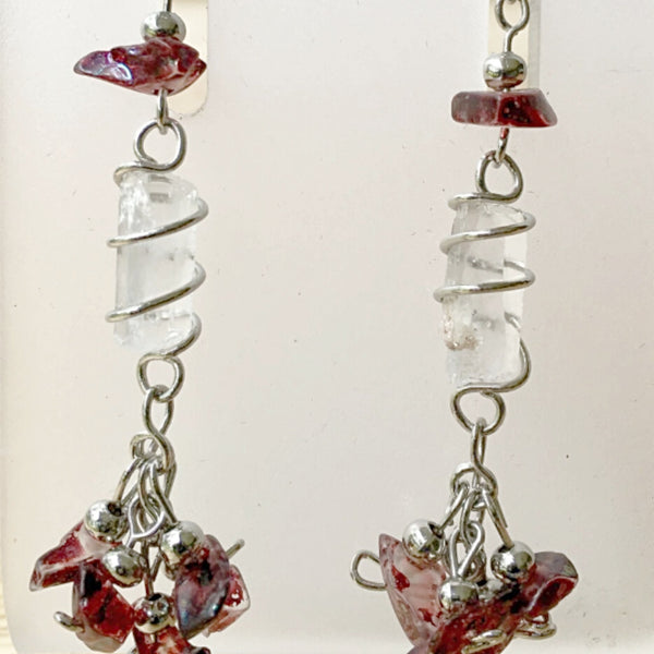 Quartz Point and Garnet Chip Earrings - New Earth Gifts