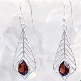 Garnet Faceted Dangle Sterling Palm Leaf Earrings -New earth Gifts