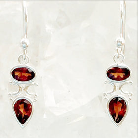 Sterling Garnet Faceted Goddess Earrings - New Earth Gifts
