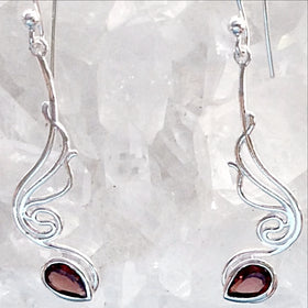 Sterling Garnet Faceted Angel Wings Earrings - New Earth Gifts