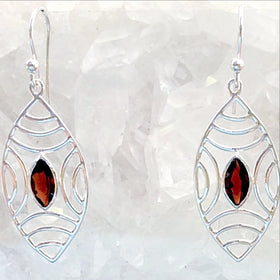 Sterling Garnet Faceted Abstract Earrings - New Earth Gifts