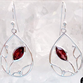 Sterling Garnet Faceted Floral Earrings -New Earth Gifts