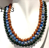 Gemstone Beaded Necklaces in Bloodstone, Lapis, Goldstone, Hand Knotted