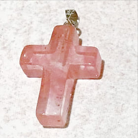 Cherry Quartz Cross Pendant - New Earth Gifts