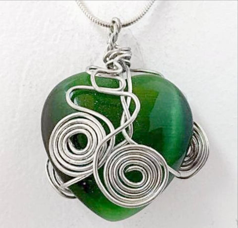 Gemstone Heart Pendant - Green Fiber Optic For Sale New Earth Gifts