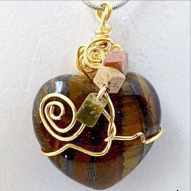 Gemstone Heart Pendants - Tiger Eye Stone - New Earth Gifts