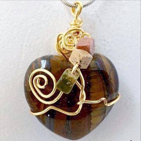 Gemstone Heart Pendants - Tiger Eye Stone For Sale New Earth Gifts